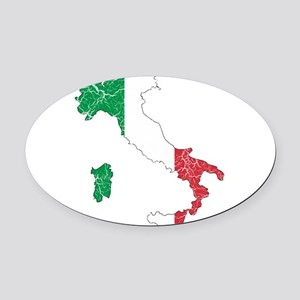 Italy Flag And Map Oval Car Magnet