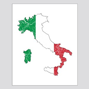 Italy Flag And Map Small Poster