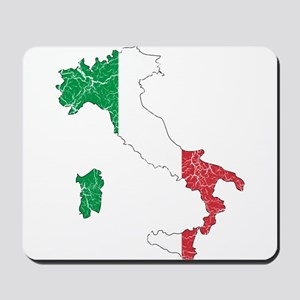 Italy Flag And Map Mousepad