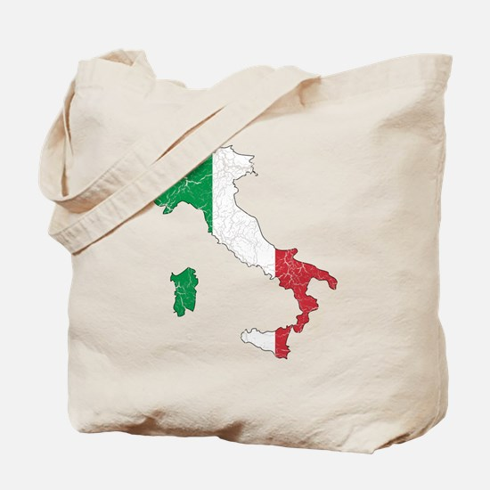 Italy Flag And Map Tote Bag