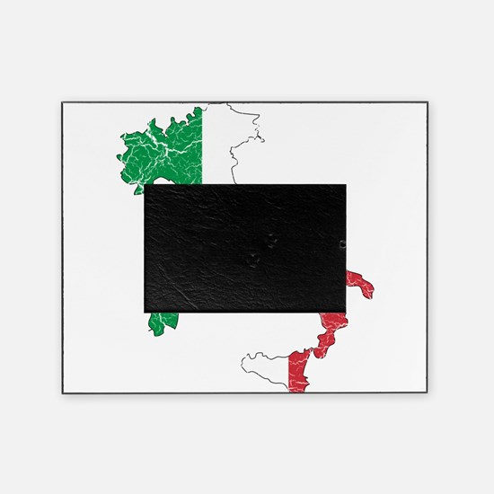 Italy Flag And Map Picture Frame