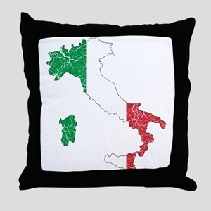Italy Flag And Map Throw Pillow