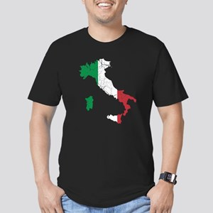 Italy Flag And Map Men's Fitted T-Shirt (dark)