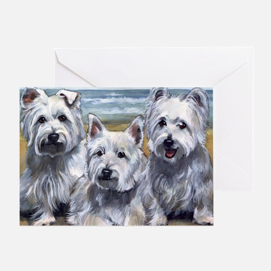 Three Westies Greeting Card