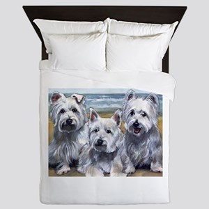 Three Westies Queen Duvet