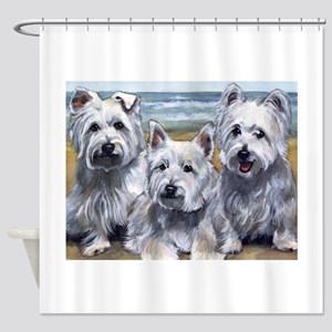 Three Westies Shower Curtain