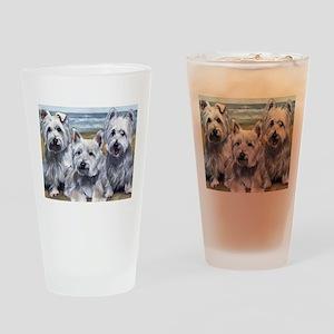 Three Westies Drinking Glass