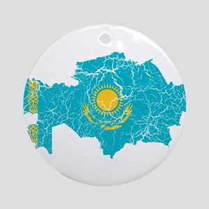 Kazakhstan Flag And Map Ornament (Round)