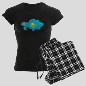 Kazakhstan Flag And Map Women's Dark Pajamas