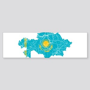 Kazakhstan Flag And Map Sticker (Bumper)