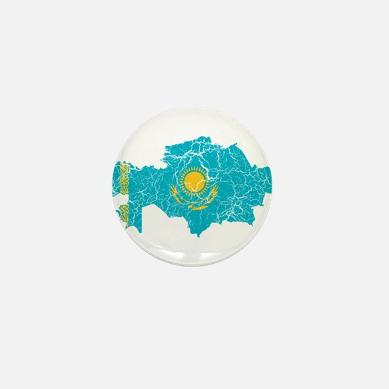 Kazakhstan Flag And Map Mini Button (10 pack)