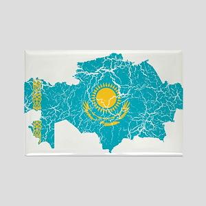 Kazakhstan Flag And Map Rectangle Magnet