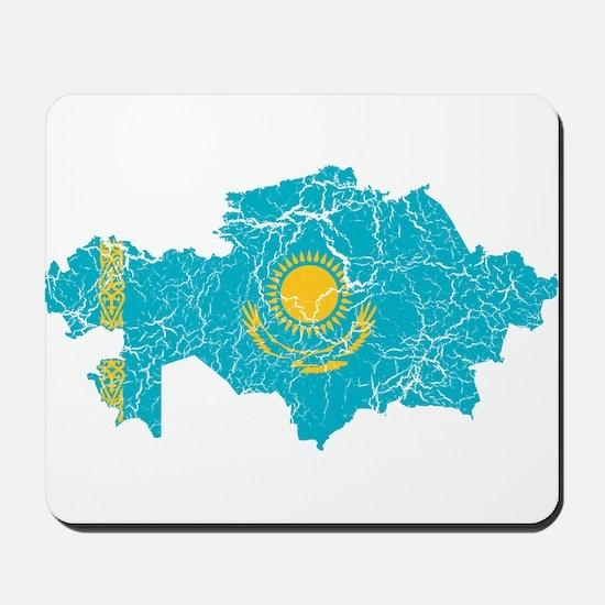 Kazakhstan Flag And Map Mousepad
