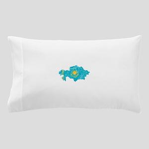 Kazakhstan Flag And Map Pillow Case