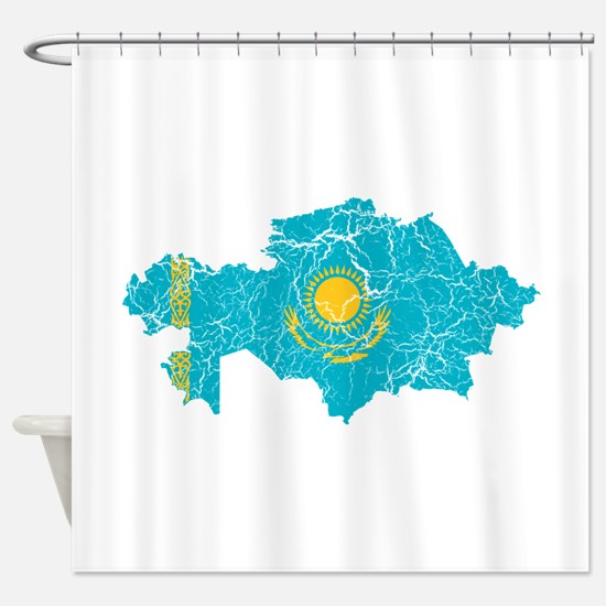 Kazakhstan Flag And Map Shower Curtain