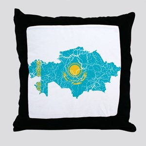Kazakhstan Flag And Map Throw Pillow