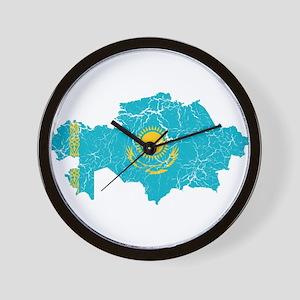 Kazakhstan Flag And Map Wall Clock