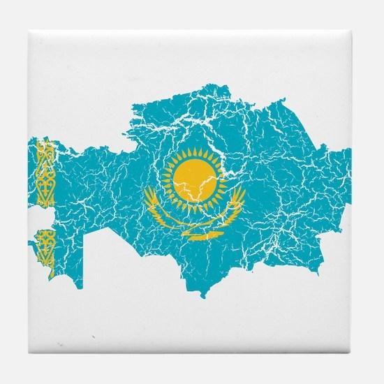 Kazakhstan Flag And Map Tile Coaster