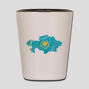 Kazakhstan Flag And Map Shot Glass