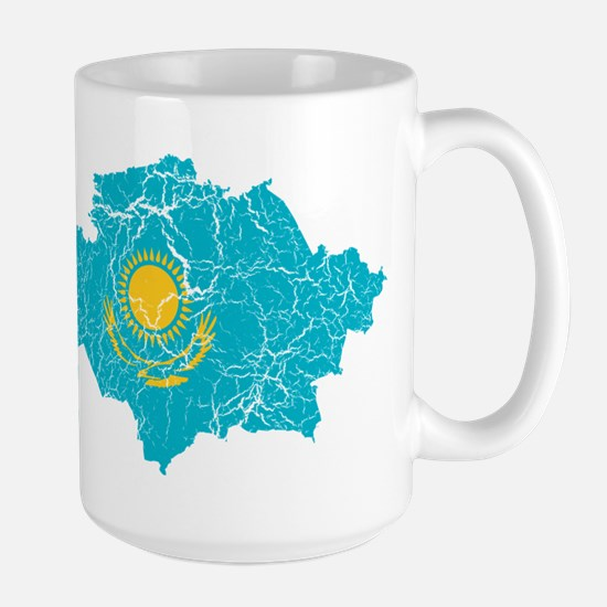 Kazakhstan Flag And Map Large Mug