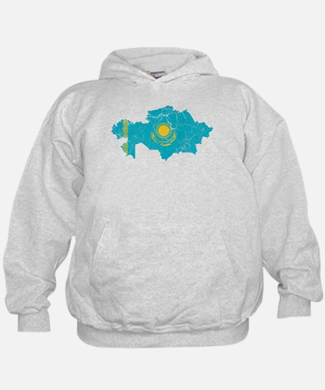 Kazakhstan Flag And Map Hoodie