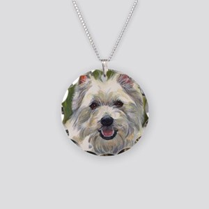 Happy Westie Necklace Circle Charm