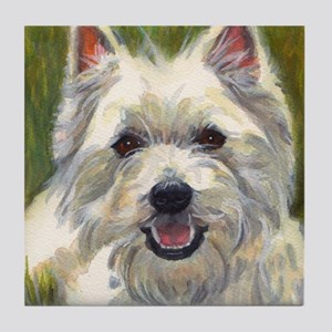 Happy Westie Tile Coaster