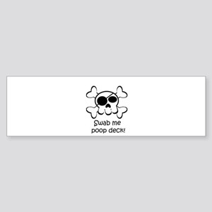 Skull Pirate Swab Me Poop Deck Sticker (Bumper)
