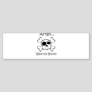 Skull Pirate Wipe Me Booty Sticker (Bumper)