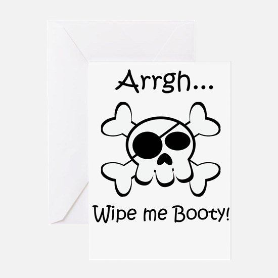 Skull Pirate Wipe Me Booty Greeting Card