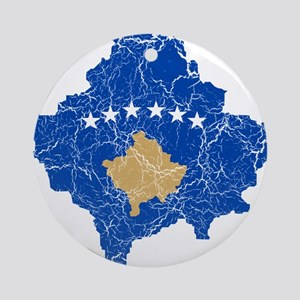 Kosovo Flag And Map Ornament (Round)