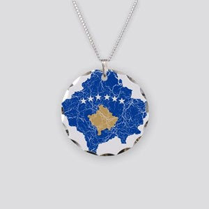 Kosovo Flag And Map Necklace Circle Charm