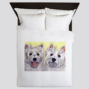 Two Westies Queen Duvet