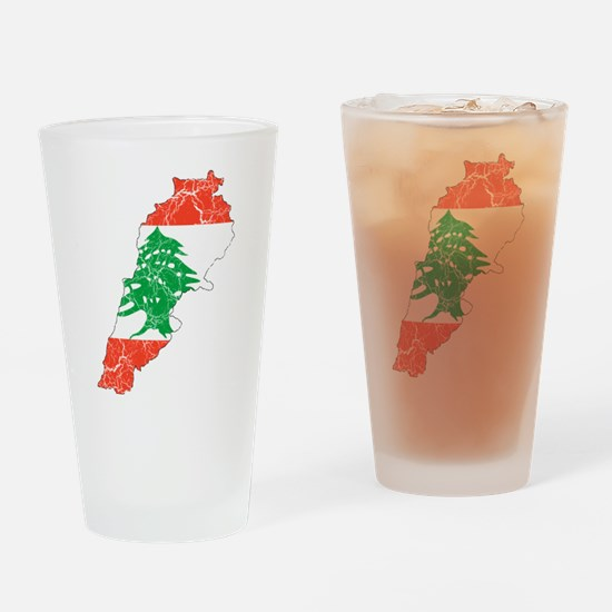 Lebanon Flag And Map Drinking Glass