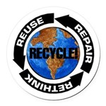 Recycle World Round Car Magnet