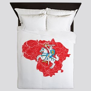 Lithuania State Ensign Flag And Map Queen Duvet