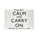 Keep Calm And Carry On Drinking Rectangle Magnet (