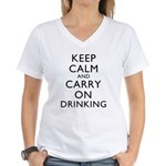 Keep Calm And Carry On Drinking Women's V-Neck T-S
