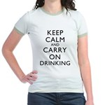 Keep Calm And Carry On Drinking Jr. Ringer T-Shirt