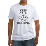 Keep Calm And Carry On Drinking Fitted T-Shirt