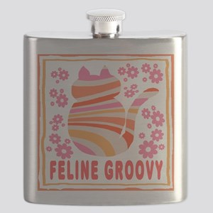 Feline Groovy (orange/pink) Flask