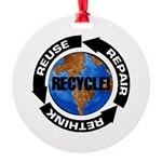Recycle World Round Ornament