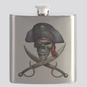 Pirate skull and crossed swords Flask
