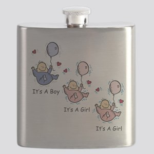 It's a Boy Girl Girl Triplets Flask