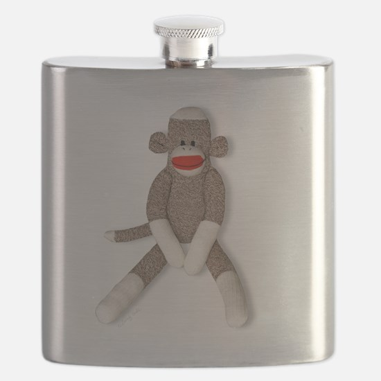 Sock Monkey Sitting -- Flask