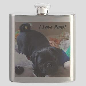 I Love Pugs Flask