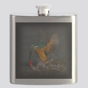 Colorful Kingfisher in Action Flask