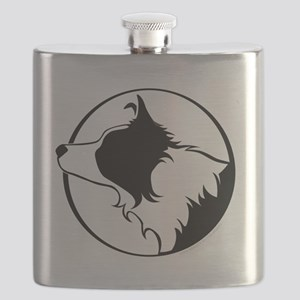 Border Collie Head B&W Flask