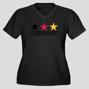 Germany stars flag Women's Plus Size V-Neck Dark T