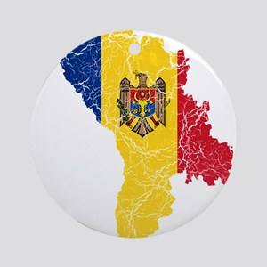 Moldova Flag And Map Ornament (Round)